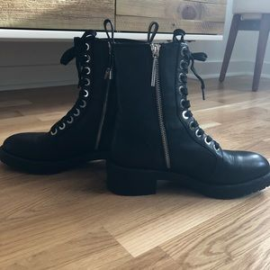 Micro Studded Leather Biker Ankle Boots